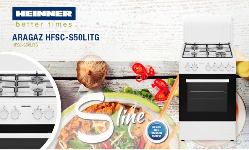 Aragaz HEINNER HFSC-S50LITG, 4 zone de gatit, gaz, grill, alb