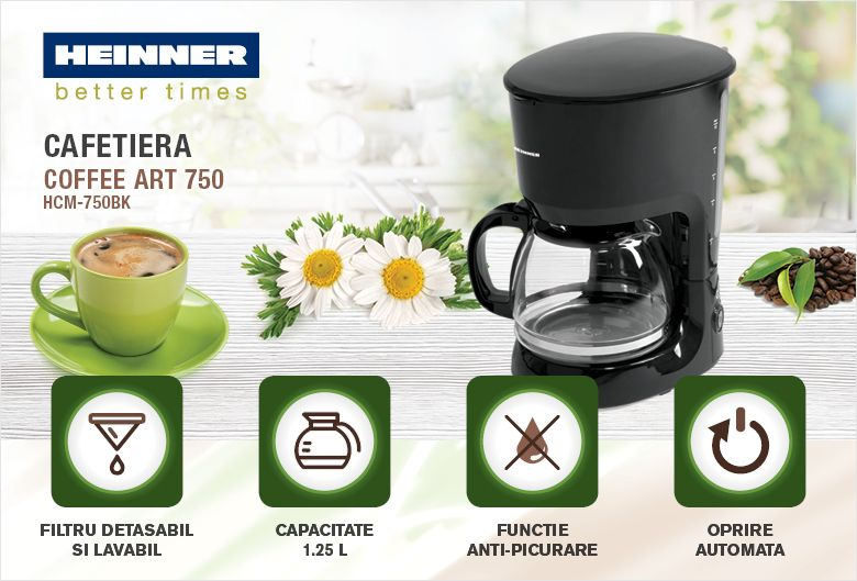Cafetiera HEINNER Coffee Art HCM-750BK, capacitate 1.25 l, 10 cesti, 750 W, negru