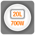 Cuptor cu microunde HEINNER HMW-20BK2, capacitate 20l, 700W, negru