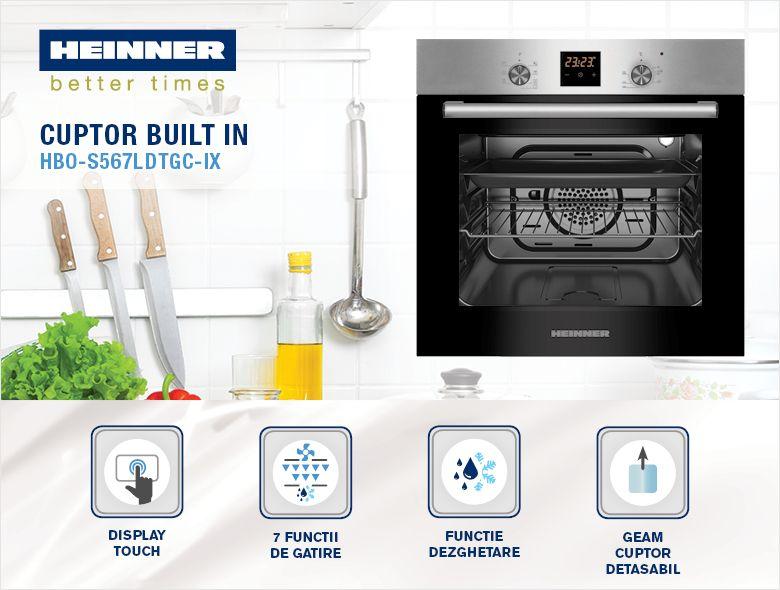 Cuptor incorporabil HEINNER HBO-S567LDTGC-IX