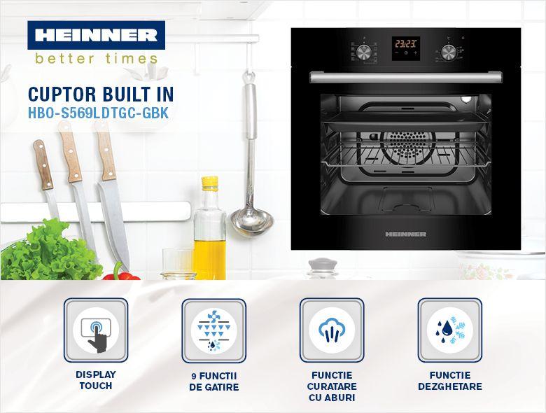 Cuptor incorporabil HEINNER HBO-S569LDTGC-GBK