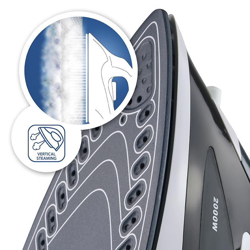 Fier de calcat AURORA AU3421, ceramica, 100 g/min., 2000 W, alb/negru