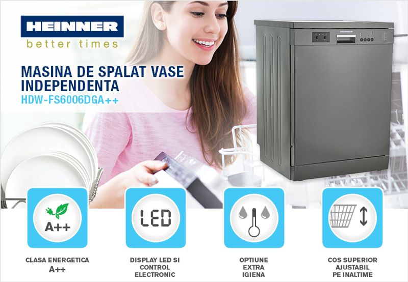 Masina de spalat vase Heinner HDW-FS6006DGA++