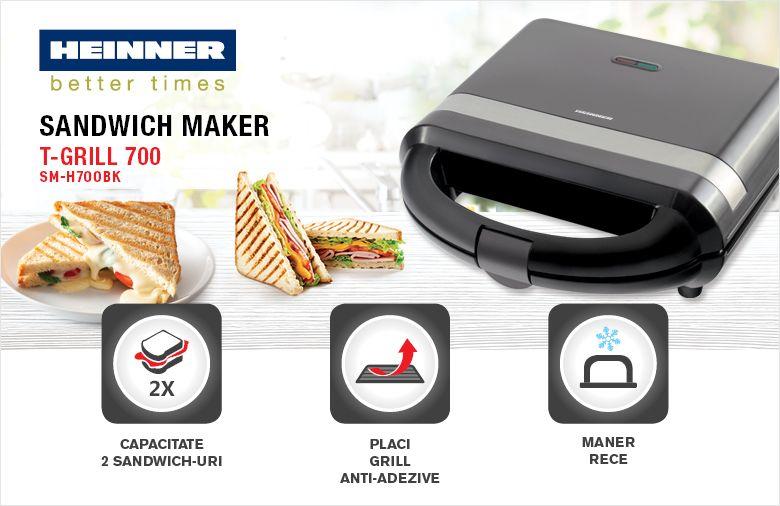 Prajitor de sandwich-uri HEINNER T-Grill 700 SM-H700BK