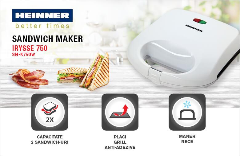 Prajitor de sandwich-uri HEINNER Irysse SM-K750W, 750W, alb