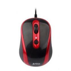 Mouse cu fir A4TECH V-track Padless N-250X-2, negru/rosu, optic, USB