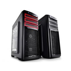 "CARCASA DEEPCOOL ATX Mid-Tower,  2* 120mm white LED fan & 3* 120mm fan (incluse), side window, fan controller, front audio & 1x USB 3.0, 2x USB 2.0, titanium gray ""KENDOMEN TI"""
