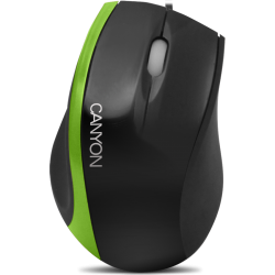 Mouse cu fir CANYON CNR-MSO01NG, negru/verde, optic, USB