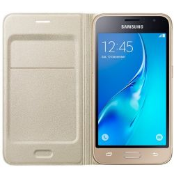 Husa Flip Wallet SAMSUNG pentru Galaxy J1 2016 Gold