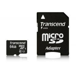 Card de Memorie TRANSCEND Micro SDXC 64GB Clasa 10 UHS-I +adaptor SD