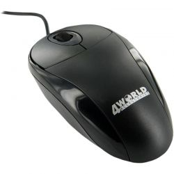 Mouse cu fir 4WORLD Basic 2, negru, optic, USB