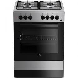 Aragaz mixt BEKO FSE62110DX, 4 zone de gatit pe gaz, cuptor electric, grill, rotisor, inox/argintiu