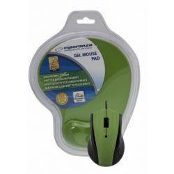 Mouse optic ESPERANZA EM125G USB + mousepad gel, 1200 DPI, Verde