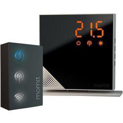 Termostat inteligent MOMIT starter kit pure si accesoriu conexiune WiFi, argintiu
