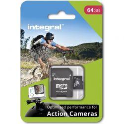 Card de memorie INTEGRAL micro SDHC/SDXC pentru Card Action Camera (testat cu GoPro), 64GB