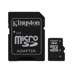Card de memorie KINGSTON microSD 8GB Clasa 4 + Adaptor