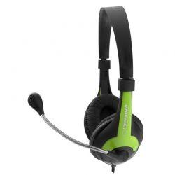 Casti cu microfon ESPERANZA EH158G stereo cu control al volumului pe fir Negru/Verde