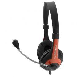 Casti cu microfon ESPERANZA EH158R stereo cu control al volumului pe fir Negru/Rosu