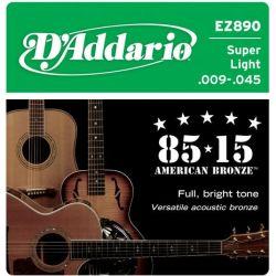 Corzi chitara acustica D'ADDARIO EZ890 Super Light 09-45