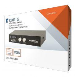 Switch VGA KONIG, 2 porturi, negru