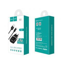 Incarcator retea dual USB HOCO C12 2.4A microUSB