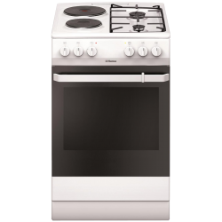 Aragaz mixt HANSA FCMW54009, 2 zone de gatit electrice, 2 zone de gatit pe gaz, cuptor electric, grill, alb