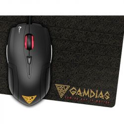 Kit mouse optic GAMDIAS Demeter E1, USB, 3200 DPI, LED, Negru + mousepad GAMDIAS NYX E1