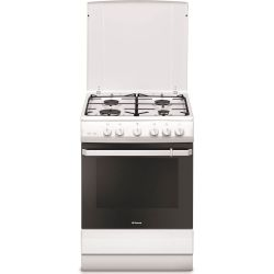 Aragaz HANSA FCGW621109, 4 zone de gatit, gaz, grill, rotisor, alb