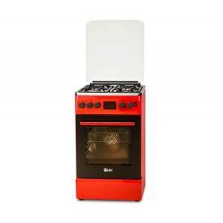 Aragaz mixt LDK 5060D ECAI RED FR NG, 4 zone de gatit, gaz, cuptor electric, grill, rosu