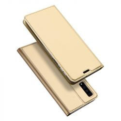 Husa flip wallet OEM pentru Samsung Galaxy A7 2018, Gold, Piele ecologica
