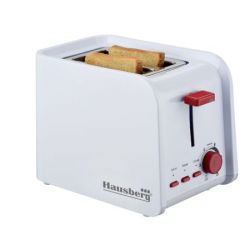 Prajitor de paine HAUSBERG HB-195, 2 felii, 750 W, alb