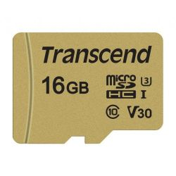 Card de memorie microSDHC TRANSCEND USD500S 16 GB, CL10, UHS-I U3 + Adaptor SD