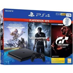 Consola SONY PlayStation 4 Slim 1 TB + 3 jocuri V2: Horizon Zero Dawn, Uncharted 4, Gran Turismo Sport
